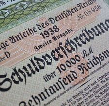 10000 RM German War Bond Cert WWII  (Very limted edition!)