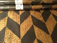 "ARTE INTL ""Triangle"" Moire Heavy Vinyl Wallpaper Mirage Collection Black & Gold"