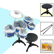 KIDS TOY 5PCS DRUM w/STOOL STICK ROCK & ROLL MUSIC PLAY SOUND KIT BLUE XMAS GIFT