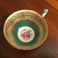 AYNSLEY GREEN/GOLD FLORAL TEACUP