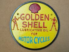 Golden Shell Stickman `Lubricating Oil For Motorcycles` Sign metal not enamel