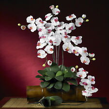 Phalaenopsis Silk Orchid White Flowers (Set of 6 Stems) Item Number: 2044-WH