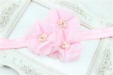 1pcs Baby Kid Pink Chiffon Pearl Rhinestone Flower Headwear Headbands Hair Bows