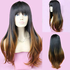 Lady Girl Black Gradient Cosplay Costume Ombre Wig Wavy Curly Long Hair Full Wig