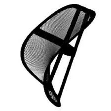 Lumbar Mesh Back Support with fitted Elastic Strap - Office Chair etc. - Black