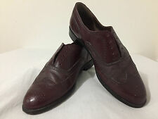 BALLY Lace-Up Wingtips Full Brogues Oxfords Shoes Burgundy Leather Size 8G