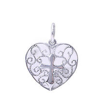 Filigree Design Heart with Cross .925 Sterling Silver Pendant  .75