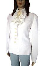 ARMANI Vtg 90s Women's Ladies White Linen Casual Tweed Jacket Blazer sz 12 AL94