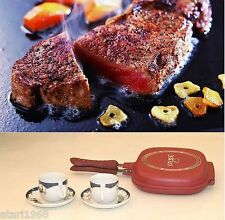 New High Quality Double Sided Red Frying Pan For Cookers Smokeless Gas Special