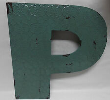 """INDUSTRIAL BLUE METAL 20"""" WALL LETTER  """" P """"  VINTAGE STYLE RUSTIC DECOR"""