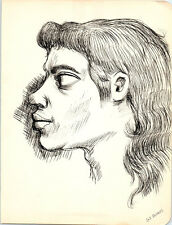 MULLET HAIR PORTRAIT Vintage ART Drawing MID-CENTURY MODERN Painting / Eames