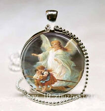 Vintage family Cabochon Glass Necklace Pendant with Ball Chain Necklace