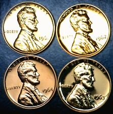 1961 1962 1963 & 1964 GEM PROOF RED Lincoln Cents LOT of 4 Coins FREE SHIPPING !