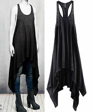 H&M The Grey Concept Asymmetrical Hem Linen Tank Dress Goth Grunge Boho UK 8