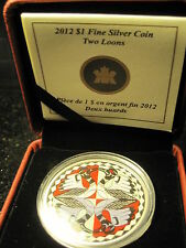 "Canada 2012 ""Two Loons Colorized"" 25 Years Of The Loonie Coin-99.99% Silver"