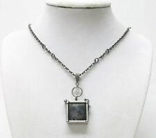 Small Square Glass/Antique Silver Plating Frame Photo Locket Pendant Necklace