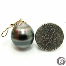 OOAK ENORMOUS 16.7x15.0mm Genuine Tahitian South Sea Pearl & 14k Gold Pendant NR