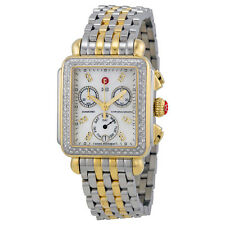 Michele Signature Deco Chronograph Diamond Mother of Pearl Dial Ladies Watch