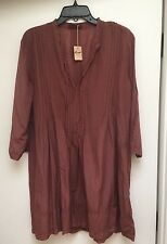 "NWT CP SHADES Cotton/silk ""REGINA"" TUNIC/DRESS, Marsala, SIze M"