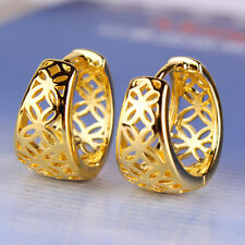 Womens Fashion Yellow Gold Filled cute Openwork Round clip on Hoop Earrings lot