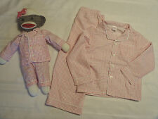 Cre8ions Pink Gingham 2T 3T Pajama set Matching Sock Monkey Toy New Sleepwear