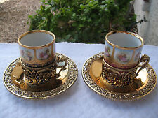 ANTIQUE VICTORIAN 22KT GOLD PLATED ORMOLU HAND PAINTED BRONZE/PORCELAIN 2 CUPS/S