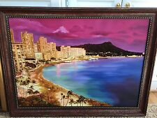 'Waikiki Beach at Night' - Oil Painting on Canvas with Imbedded Amber Stones