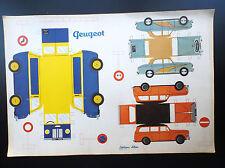 TRES RARE superbe planche à découper Voitures Peugeot Editions Albon