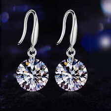 Women's Elegant CZ Drop/Dangle Hook Earrings 925 Sterling Silver Wedding Jewelry