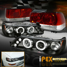 1993-1997 Toyota Corolla Glow Halo Projector LED Black Headlights + Tail Lights