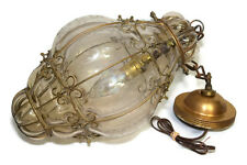 1940s Murano Seguso Hanging Light Fixture Metal Caged Clear Etched Blown Glass
