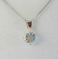 New 5mm Moonstone 9ct White Gold Pendant Necklace & 16 inch Gold Chain