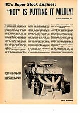 1961 SUPER-STOCK HIGH-PERFORMANCE ENGINES ~ RARE ORIGINAL 7-PAGE ARTICLE