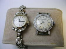 Vintage Longines solid 18K AND Hamilton solid 14K gold diamonds lady's watch lot