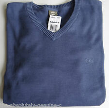 TIMBERLAND COTTON KNIT Mid Blue V Neck Sweater Jumper Top L BNWT