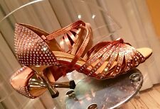 $199 Ladies Tan Crystal Rhinestone Ballroom SALSA Latin Dance Shoes 6-6.5 size