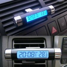 Car Van Auto Digital Clock Temperature Meter Thermometer LCD Blue Display Black