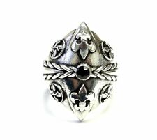 Men's Custom Black Diamond Silver Fleur De Li Ring With Angels Wings
