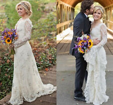 Lace Long Sleeve Custom Made Garden Wedding Dress Bridal Gown White Ivory A Line