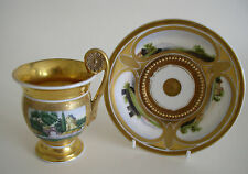 RARE PARIS PORCELAIN GILDED HAND-PAINTED CABINET PEDESTAL CUP AND SAUCER c. 1830