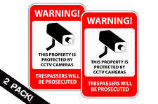 Home Security Surveillance Camera Defense CCTV Warning Decal Window Sticker 2 pk