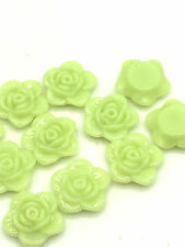 New 30pcs 15mm Resin Rose Flower Flatback Appliques For Phone/Crafts DIY Green