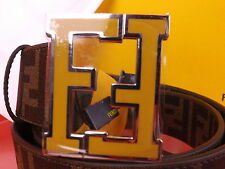 NWT FENDI TOBACCO COLLEGE LEATHER ZUCCA YELLOW FF LOGO BUCKLE BELT 105 42