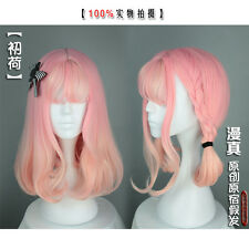 Lolita Harajuku Pink Gradient Wig Princess Sweet  Woman Cosplay Air Bangs Curls#