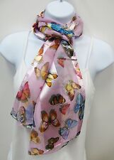 Wholesale Scarf Lot 6 Pink Scarves With Multicolor Butterfly Print # 0558 New
