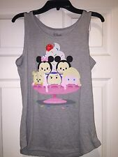 New Disney TSUM Gray Grey Tank Tops Teen Fitted Mickey Minnie Elisa Princess