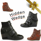WOMENS LADIES HIGH TOP HIGH HEEL LACE WEDGE HI TRAINER ANKLE BOOTS BOOTIES SIZE