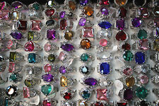 Job Lots 10pcs colorful Imitation zircon ring silver p women's rings