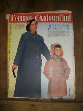 Femmes d'aujourd'hui N° 544 1955 Mode vintage 3 patrons Couture Broderie Robe