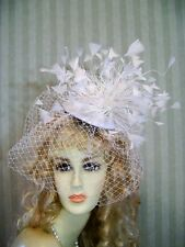 Kentucky Derby Fascinator Hat, Wedding, WhiTe Feather, Belmont Hat, Tea, Bride